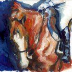 Alla Prima Chestnut, Sketch #1, oil on board, equine art