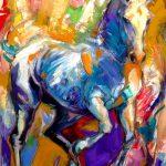 Lipizzaner, oil on board, equine art